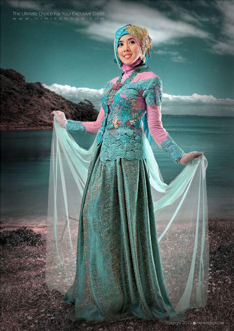 kebaya muslimah biru toska kombinasi pink brokatlace