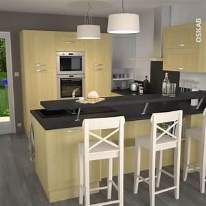 cuisine en bois porte contemporaine betula bouleau With plan de travail snack cuisine