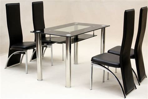 heartlands vegas black glass dining table with 4 chairs