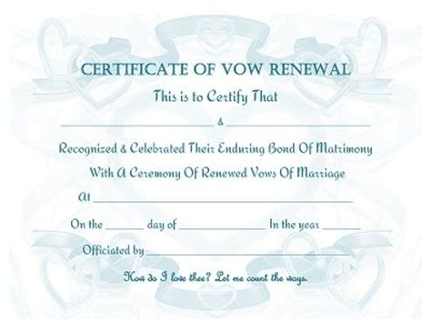 vow renewal certificate free printable prayers quotes