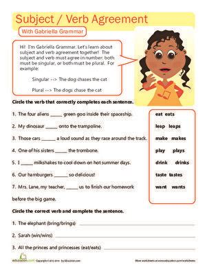 grade answer key subject verb agreement worksheets