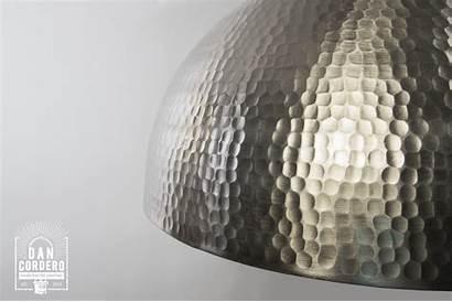 Hammered Pendant Nickel Metal Fixture Dome Brushed
