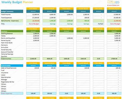Excel Budget Weekly Planner Spreadsheet Template Budgeting