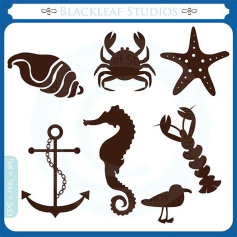 beach silhouettes starfish anchor crab sea horse
