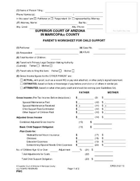 Child Support Worksheet Arizona  Kidz Activities