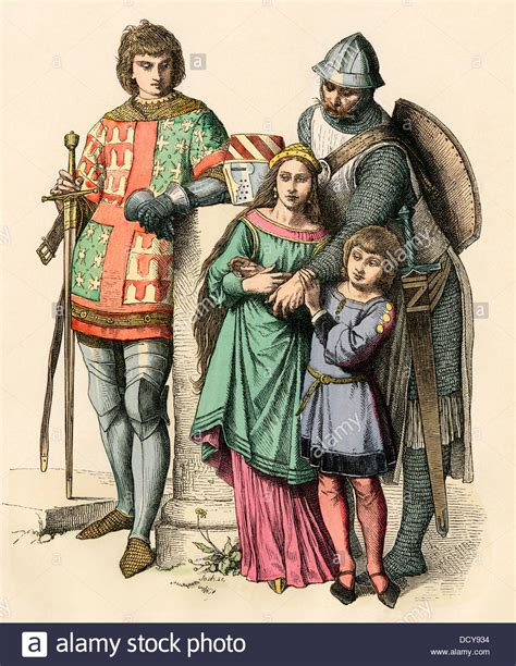 German Knight With His Family Middle Ages Stock Photo