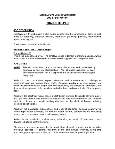 Welding Description Resume by Carpet Technician Description For Resume Meze
