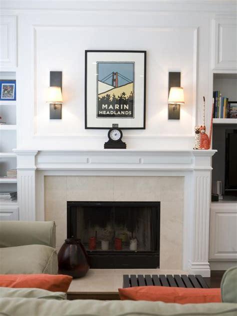 simple living room fireplace showcasing art hgtv