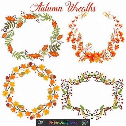 Wreath Acorn Clipart Fall Autumn Acorns Leaves