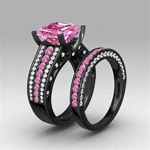 Pink and white cubic zirconia asscher cut engagement ring for Pink and silver wedding rings