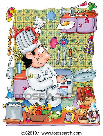 stock illustration  cook  search eps clipart