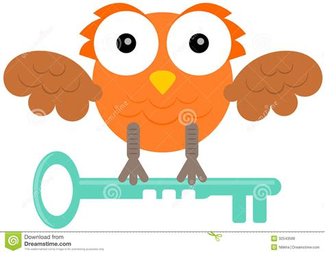Owl With Key Royalty Free Stock Photos