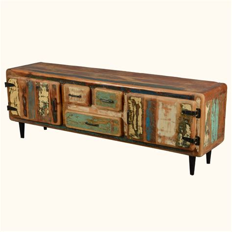 rustic tv console table reclaimed wood rustic media console tv stand cabinet