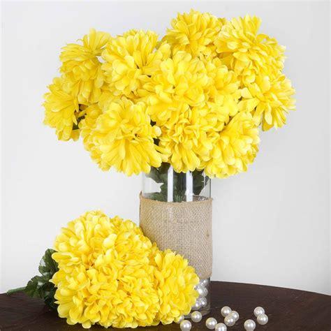 56 Artificial Yellow Silk Chrysanthemum Flowers Bush