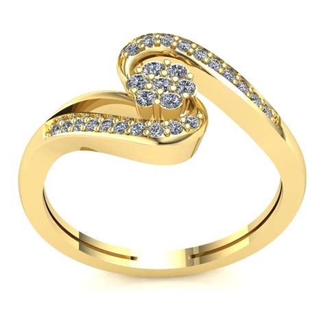 natural 0 25ct round cut diamond ladies twisted floral