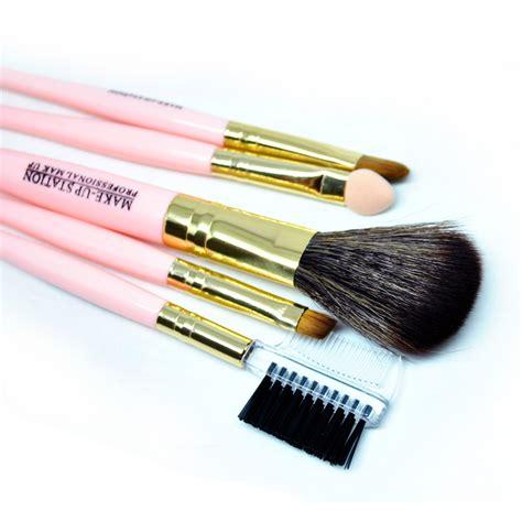 kuas set isi 5 make up brush cosmetic make up brush 5 set kuas make up pink