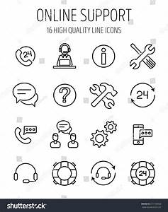 Set Online Support Icons Modern Thin Stock Vector