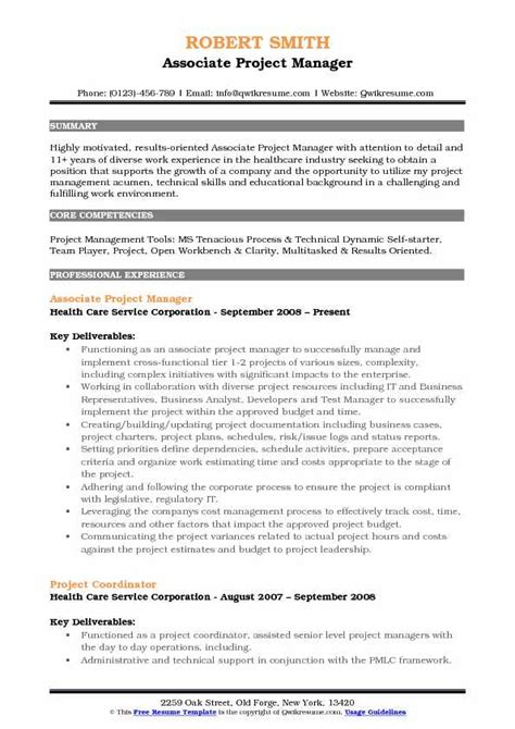 Project Manager Skill Set Resume by Associate Project Manager Resume Sles Qwikresume