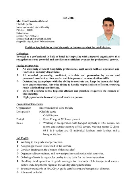 chef de partie resume