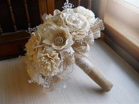rustic shabby chic bouquet sola flowers burlap lace