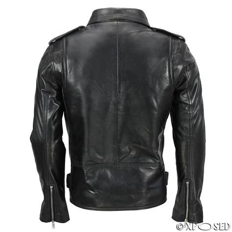 motorcycle style leather jacket mens waxed soft real leather black biker jacket vintage