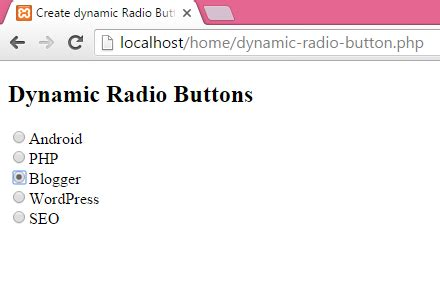 radio buttons php dynamic radio button android exles
