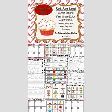"""Sweet Treats """"roll, Say, Keep!"""" First Grade Dolch Sight Word Center + Extra  Writing Centers"""