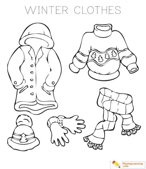 winter clothes coloring page   winter clothes