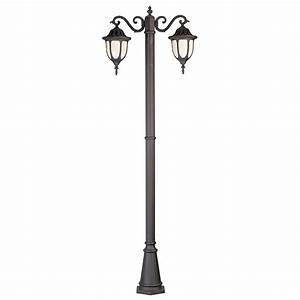 Bel Air Lighting Black With Opal Glass Lamp Post