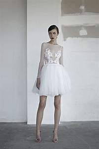 Picture Of a short wedding gown with an illusion bodice