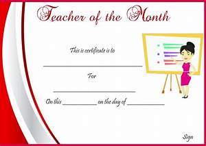 sample teacher of the month certificate demplates With teacher of the month certificate template