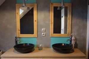 miroir salle de bain bois With miroir deco salle de bain