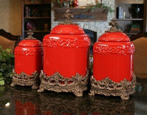Ceramic 4 piece kitchen canister set ebern designs color: Red Large Ceramic Canister Set - Special Order $169.60 | Red kitchen accessories, Red canister ...