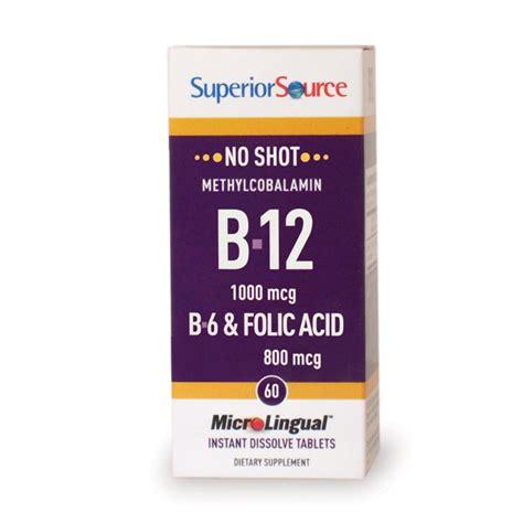 superior source no methylcobalamin b12 b6 folic acid 800 mcg 60 sublingual 76635907007 ebay