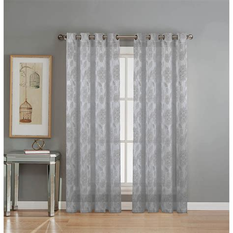 Silver Gray Valances by Window Elements Sheer Avery Cotton Blend Burnout Sheer