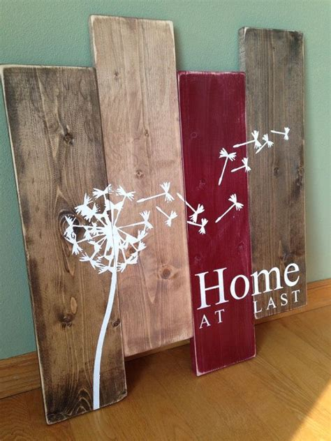 Have your favorite picture, artwork, or inspirational text printed on wood! Dandelion Wall Hanging/Home At Last/ Rustic Wall Decor/Teal and Wood Wall Art   Dandelion wall ...