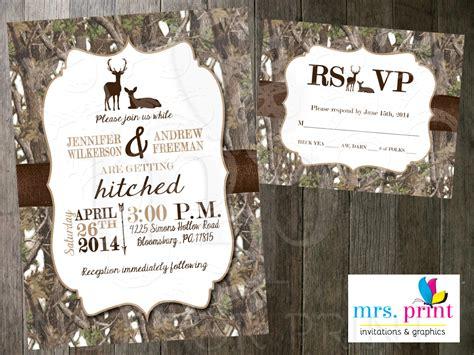 White Camo Deer Wedding Invitation And Rsvp Card By Mrsprint