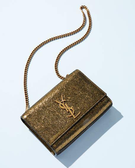 saint laurent kate monogram ysl small metallic leather crossbody bag neiman marcus