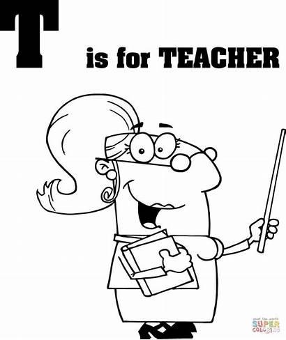 Teacher Coloring Letter Pages Cartoon Printable Appreciation