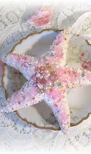 Pink pearls, hanging starfish   Pink bugle beads, seed ...