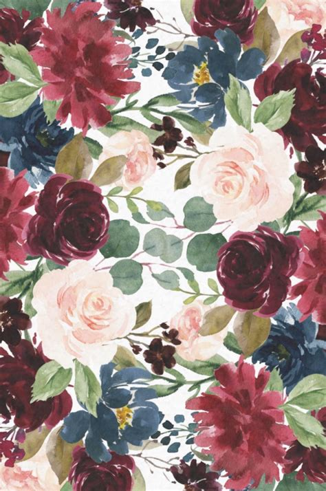 Vintage, flower, background, watercolor, floral, border, garden. Burgundy Blue Watercolor Flowers Border Tissue Paper Flowers by JunkyDotCom - Beautiful hand d ...