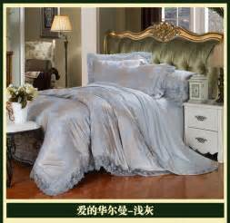 luxury brand silver grey lace satin jacquard bedding comforter set sets king queen size duvet