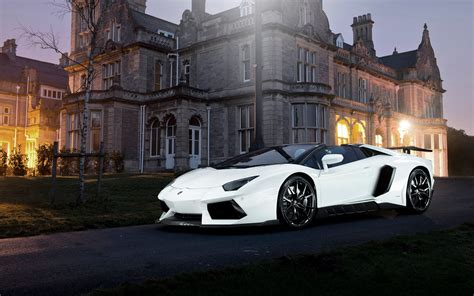 Lamborghini Aventador White Supercar Night House Lights 4k