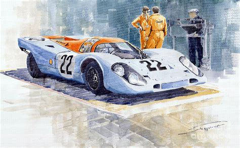 porsche 917 art porsche 917k gulf 1970 le mans test weighing painting by