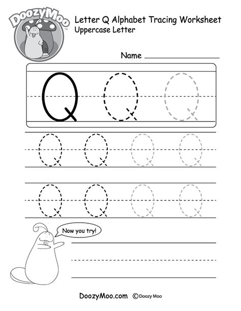 lowercase letter quot q quot tracing worksheet doozy moo