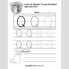 Uppercase Letter Q Tracing Worksheet  Doozy Moo