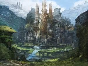 Elven Kingdom - distant view by Dojobird6 on DeviantArt