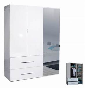 Armoire Bébé Pas Cher : armoire 3 portes 2 tiroirs first blanche blanc brillant ~ Teatrodelosmanantiales.com Idées de Décoration