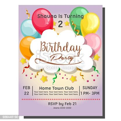2nd Birthday Party Invitation Card With Balloon Stock