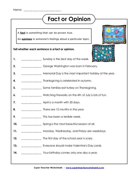facts and opinions worksheet fact and opinion